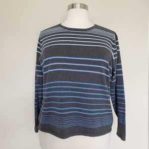 Talbots Woman Plus Size 2X Gray Blue Ombre Sweater
